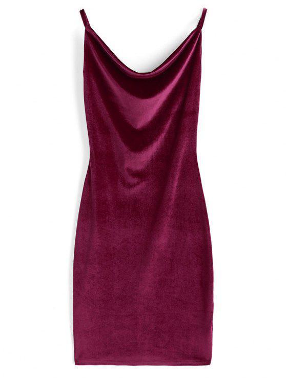 Cowl Neck Velvet Dress - Vinho vermelho L