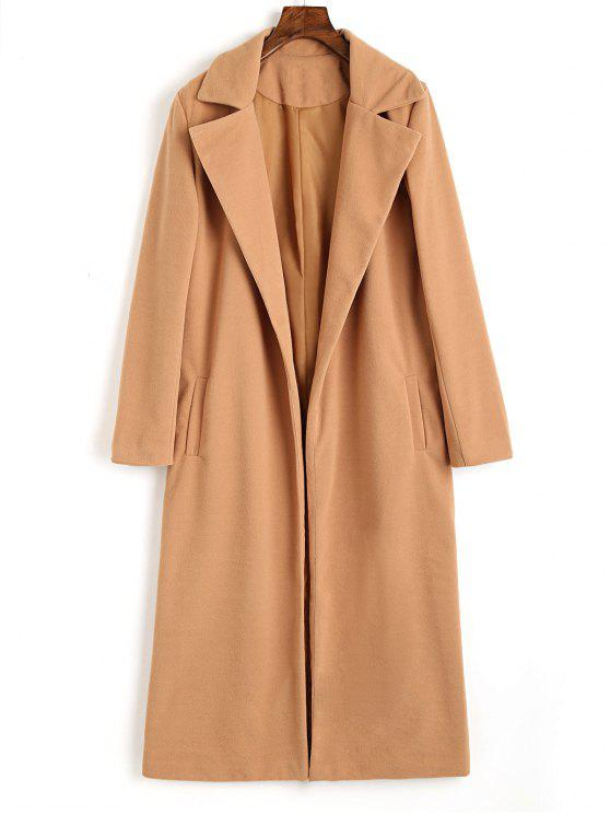 unique Lapel Wool Blend Coat with Piped Pockets - CAMEL S