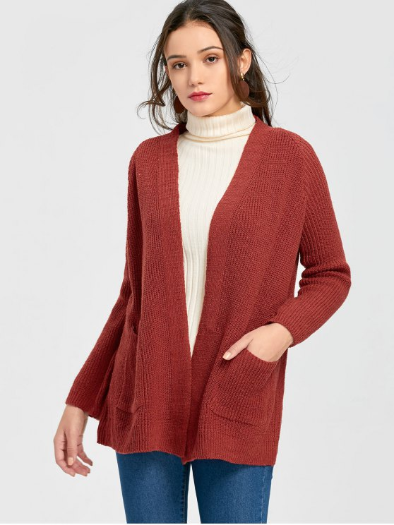 Pockets Plain Open Cardigan TOMATO RED: Sweaters ONE SIZE | ZAFUL