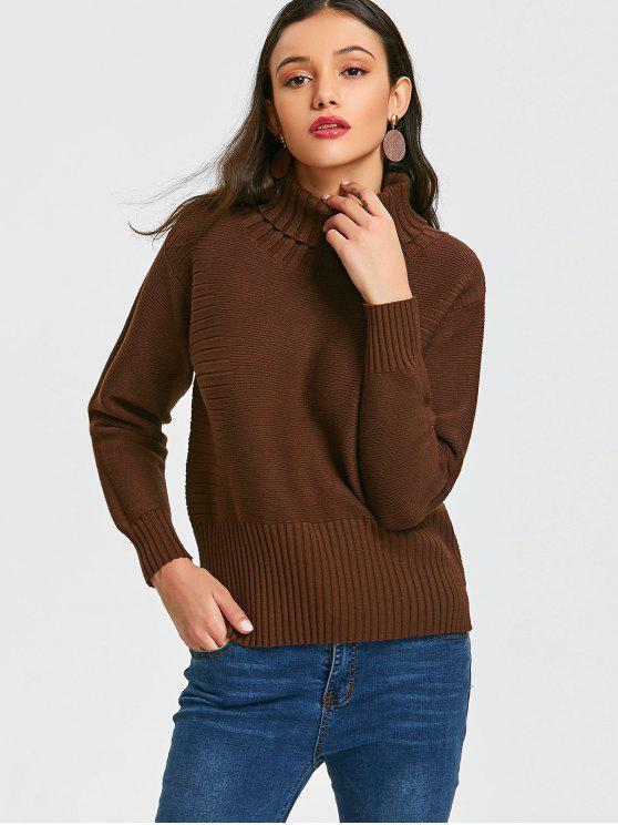 Turtleneck High Low Pullover Sweater BROWN: Sweaters ONE SIZE | ZAFUL