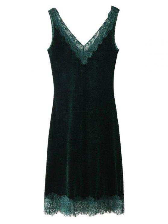 ladies Sleeveless Lace Panel Velvet Midi Dress - BLACKISH GREEN L