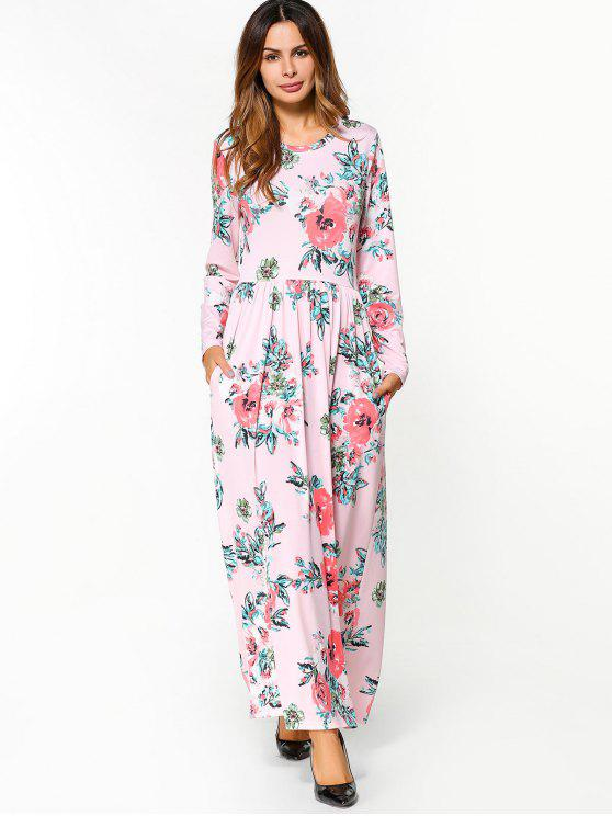 c97164accf3 33% OFF  2019 Floral Print Long Sleeve Maxi Dress In PINK