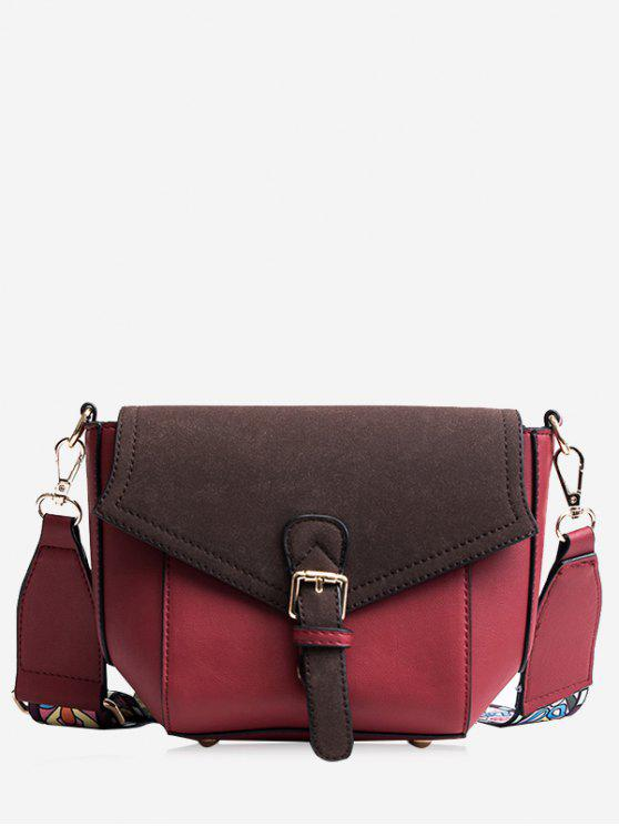 fancy Buckle Strap Color Block Print Crossbody Bag - RED
