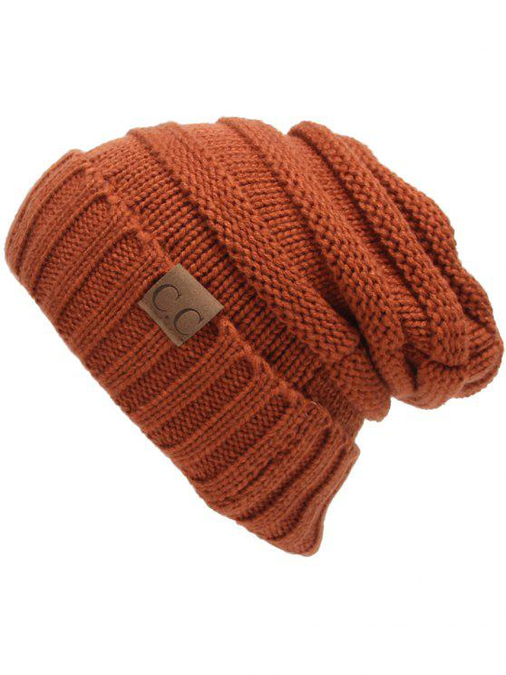 outfits CC Label Decorated Crochet Knitted Slouchy Beanie - SPICE