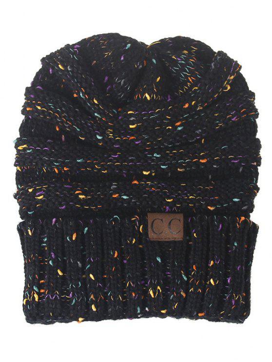 قبعة محبوكة مزينة بنمط خطوط - أسود