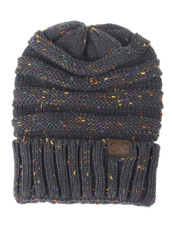 قبعة محبوكة مزينة بنمط خطوط - الرمادي الداكن