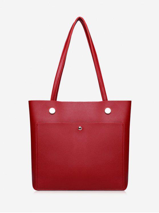 حقيبة كتف من الجلد المصنع مزينة بقطع معدنية - أحمر أفقي