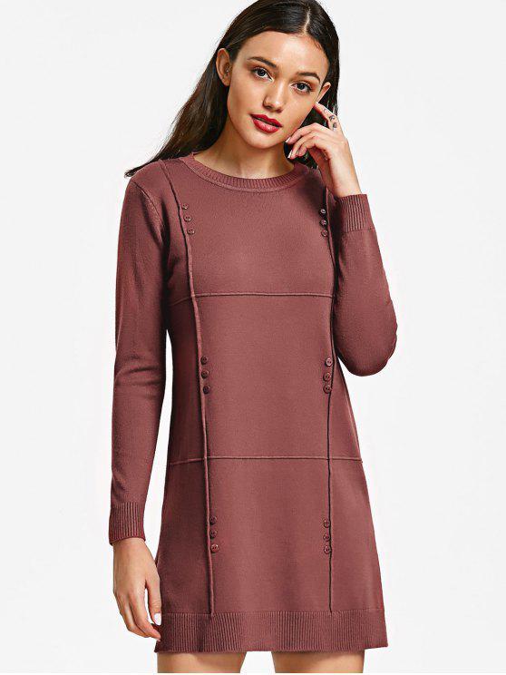 Pullover mit seitlichem Schlitz und Knopf - Bohnenpaste Farbe Eine Größe