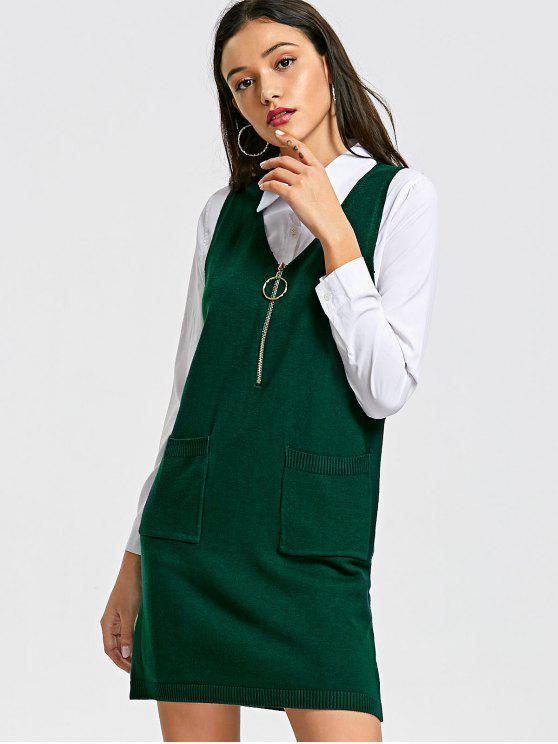 Pull Gilet Long à Demi-Zip et Col en V - Vert Taille Unique
