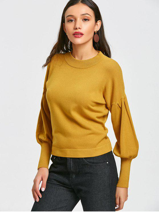 unique Pullover Crew Neck Ribbed Cuffs Sweater - MUSTARD ONE SIZE