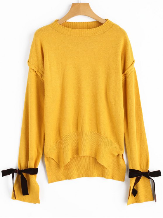 women's High Low Tied Sleeve Sweater - GINGER ONE SIZE