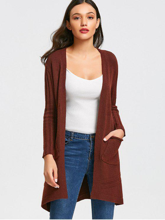 3ffe8a1041b 37% OFF  2019 Long Open Front Cardigan With Pockets In WINE RED ONE ...