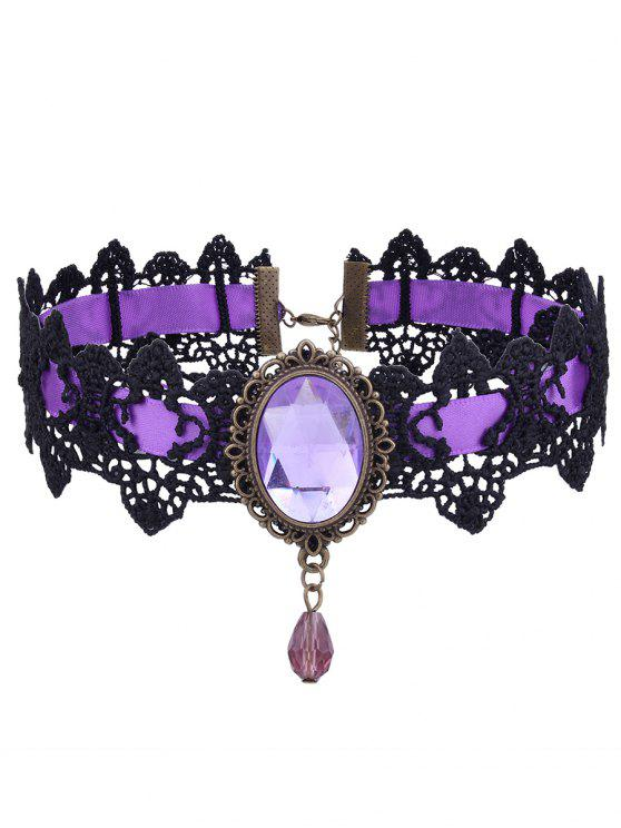chic Gothic Faux Gemstone Oval Lace Choker Necklace - PURPLE