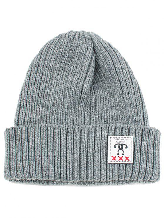 Label Verziert Häkeln Gestrickte Beanie Grau Hüte Zaful
