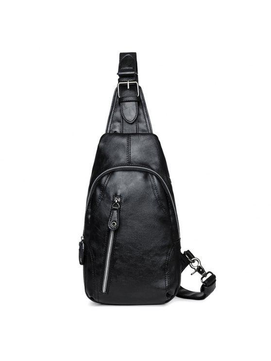 الجبهة البريدي خياطة حقيبة الصدر - أسود