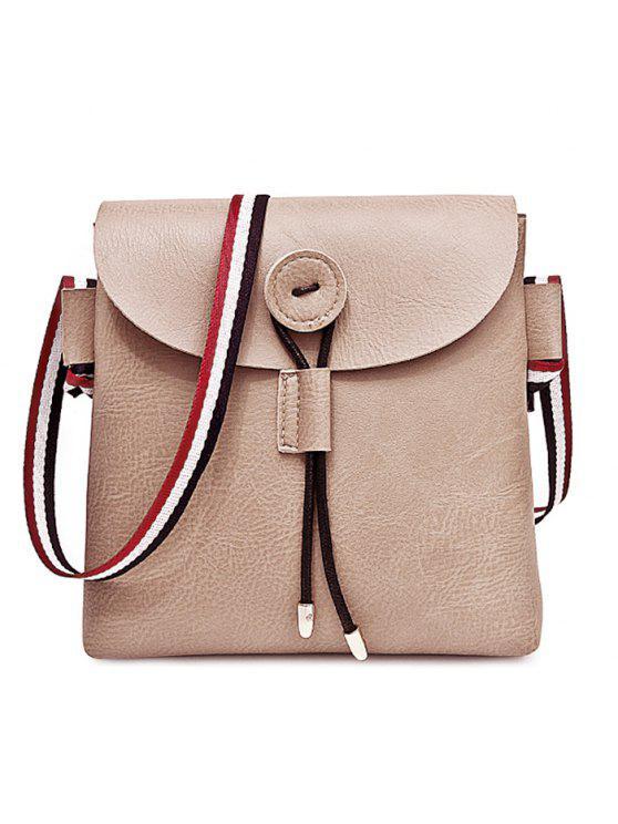 مخطط حقيبة جلد كروسبودي اللون - كاكي