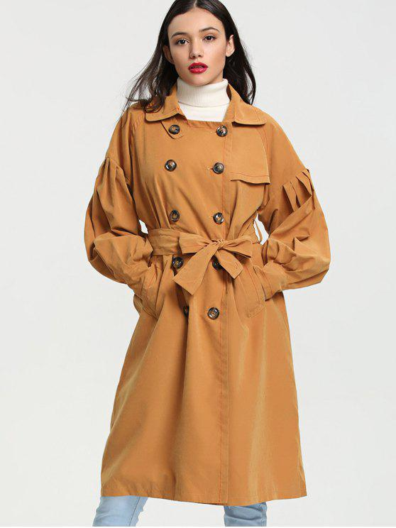 outfit Lantern Sleeve Double Breasted Trench Coat - GINGER S