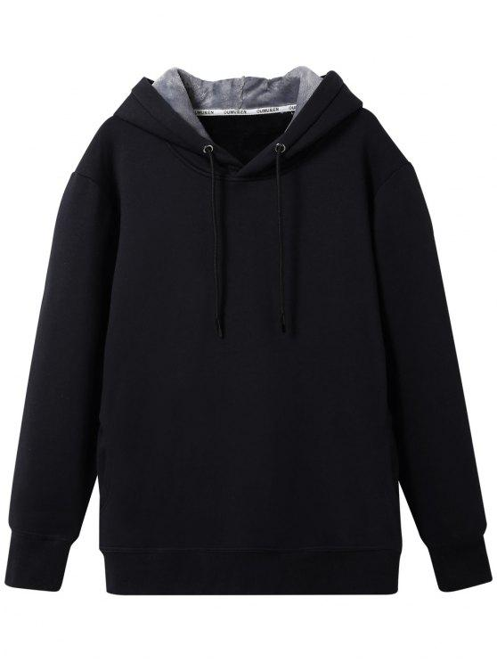 sale Pullover Soft Woolen Lining Hoodie - BLACK 3XL