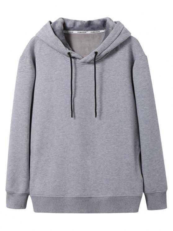 shop Pullover Soft Woolen Lining Hoodie - GRAY 2XL