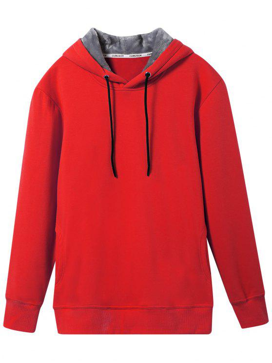 womens Pullover Soft Woolen Lining Hoodie - RED 3XL