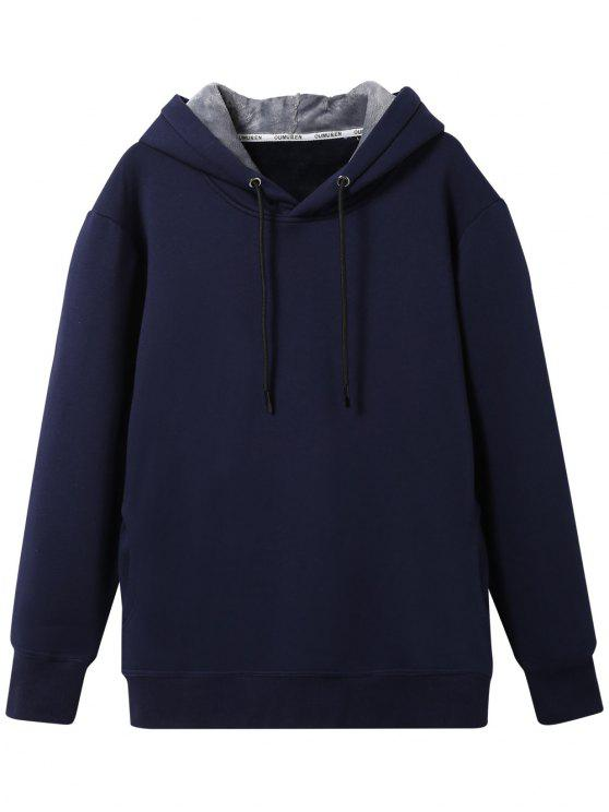 latest Pullover Soft Woolen Lining Hoodie - CADETBLUE 3XL