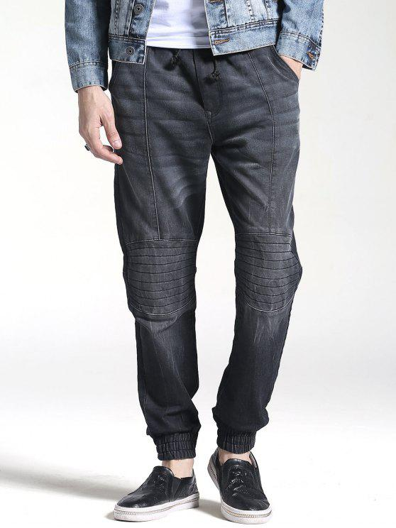 fashion Stitching Faded Jogger Jeans - BLACK 38