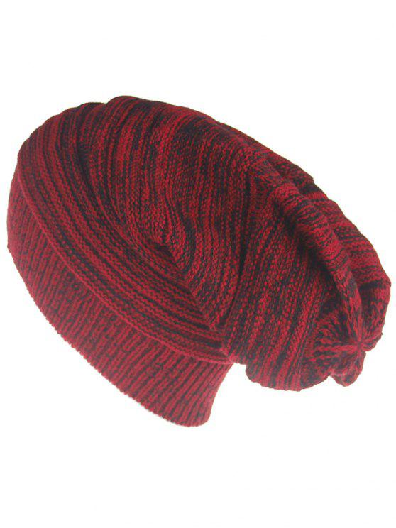 latest Colormix Striped Pattern Thicken Knitted Slouchy Beanie - RED