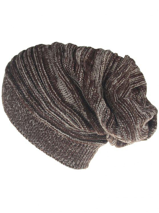 trendy Colormix Striped Pattern Thicken Knitted Slouchy Beanie - COFFEE