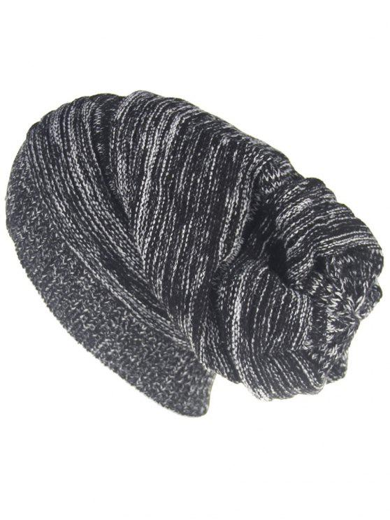 fashion Colormix Striped Pattern Thicken Knitted Slouchy Beanie - BLACK