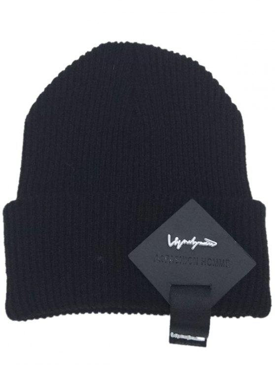 fashion Square Letter Label Decorated Flanging Knitted Beanie - BLACK