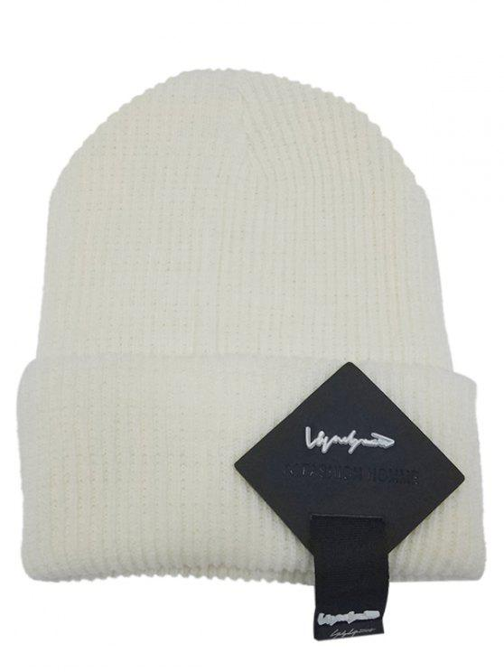 chic Square Letter Label Decorated Flanging Knitted Beanie - WHITE