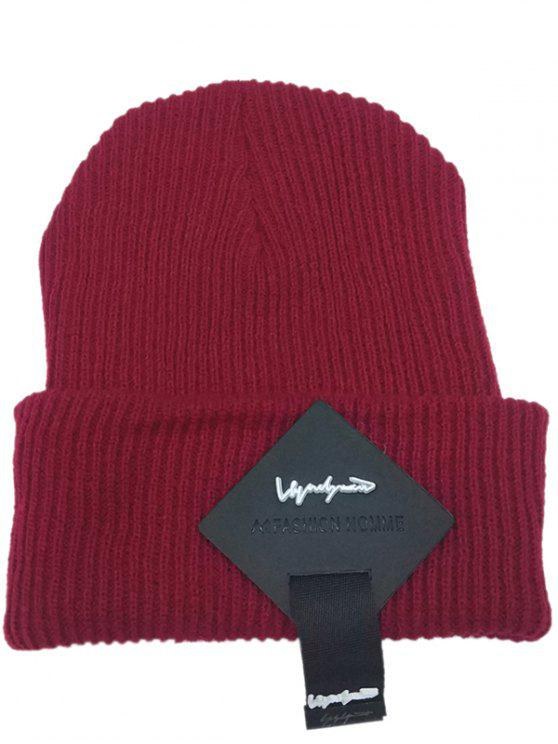 fancy Square Letter Label Decorated Flanging Knitted Beanie - WINE RED