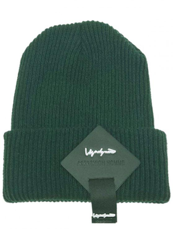 sale Square Letter Label Decorated Flanging Knitted Beanie - GREEN