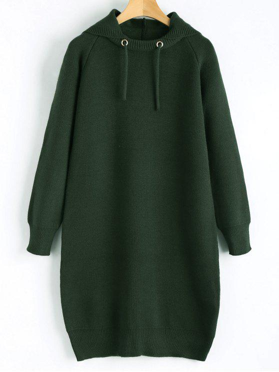 affordable Hooded Sweater Dress - BLACKISH GREEN ONE SIZE