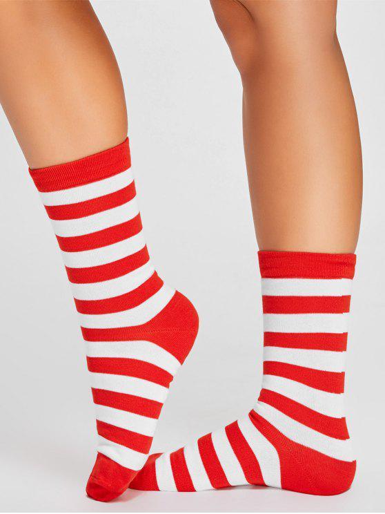 بسيطة مخطط نمط اللون لصق أنبوب الجوارب - الأحمر مع الأبيض
