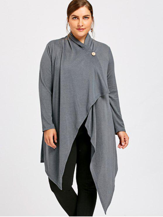 unique Plus Size One Button Asymmetrical Cardigan - GRAY XL