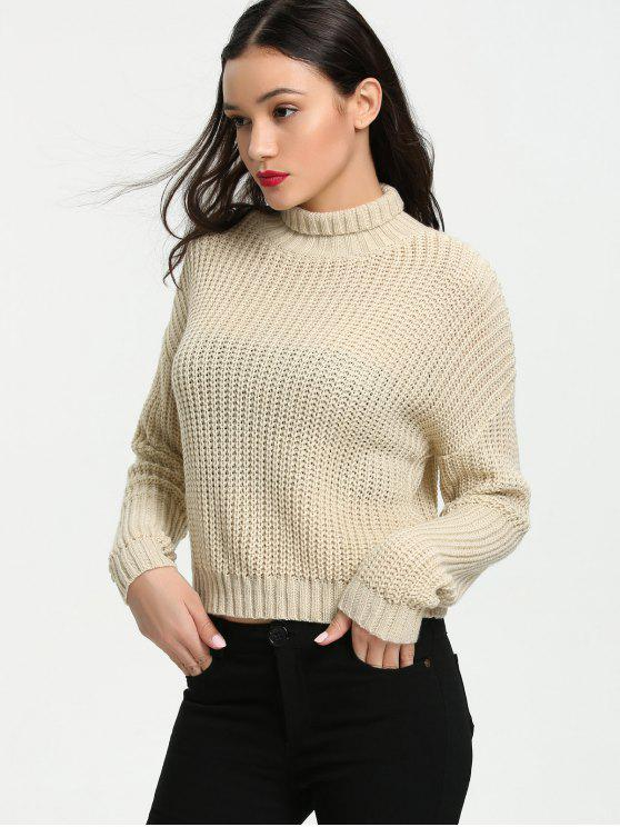 latest Turtleneck Chunky Sweater - APRICOT S