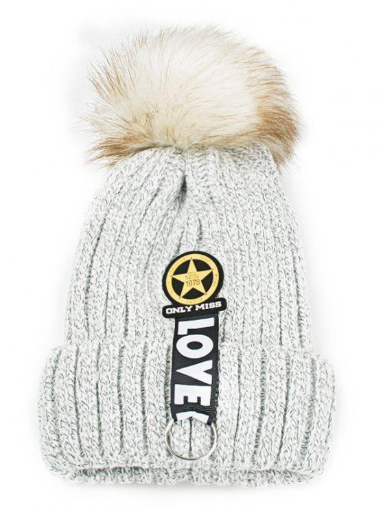 women's Letter and Star Embellished Flanging Knitted Beanie - LIGHT GRAY