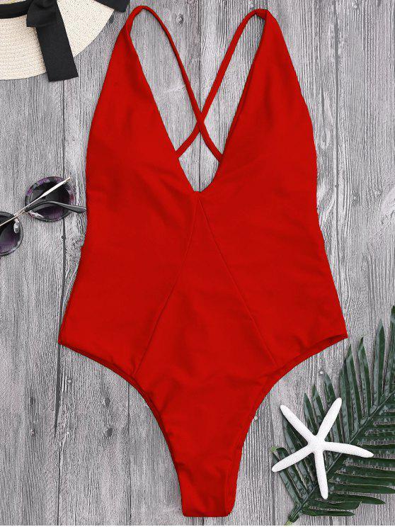 Costume Da Bagno Intero A Taglio Alto Con Croce Indietro - Rosso L