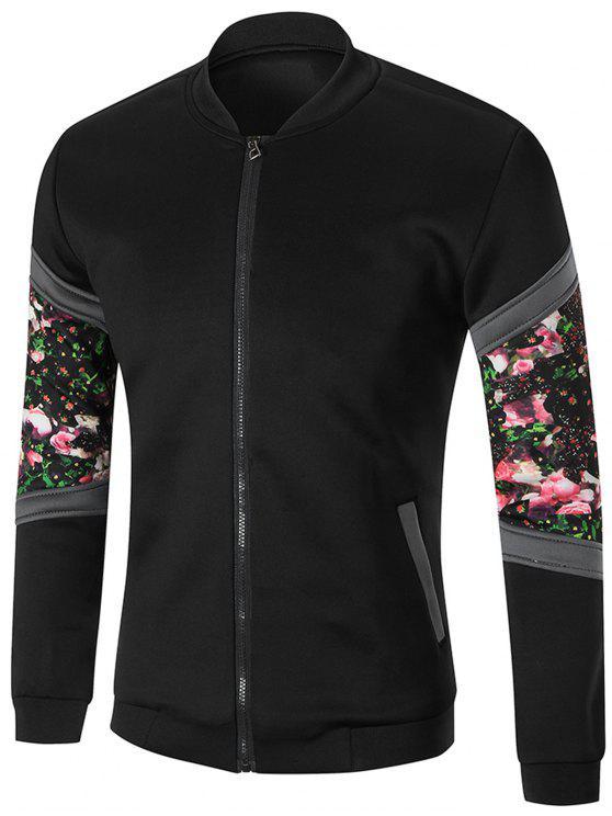 Zip-Front-Sleeve mit Blumen bedruckte Jacke - Schwarz M