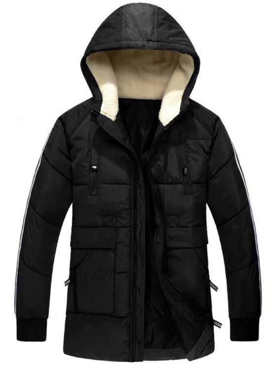 fashion Side Stripe Zip Up Hooded Padded Coat - BLACK XL