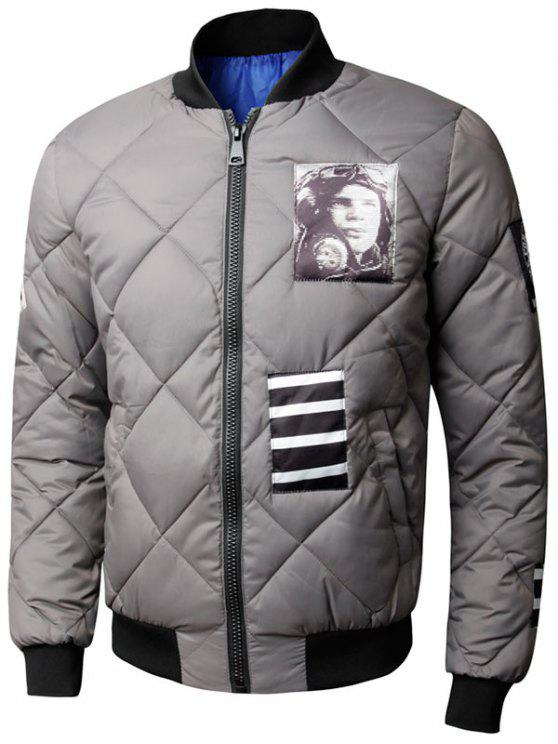 sale Zip Up Graphic Quilted Bomber Jacket - GRAY 3XL