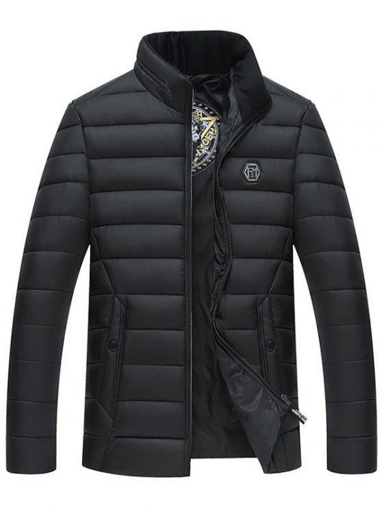Volle Reißverschluss-Stehkragen-gepolsterte Jacke - Schwarz XL