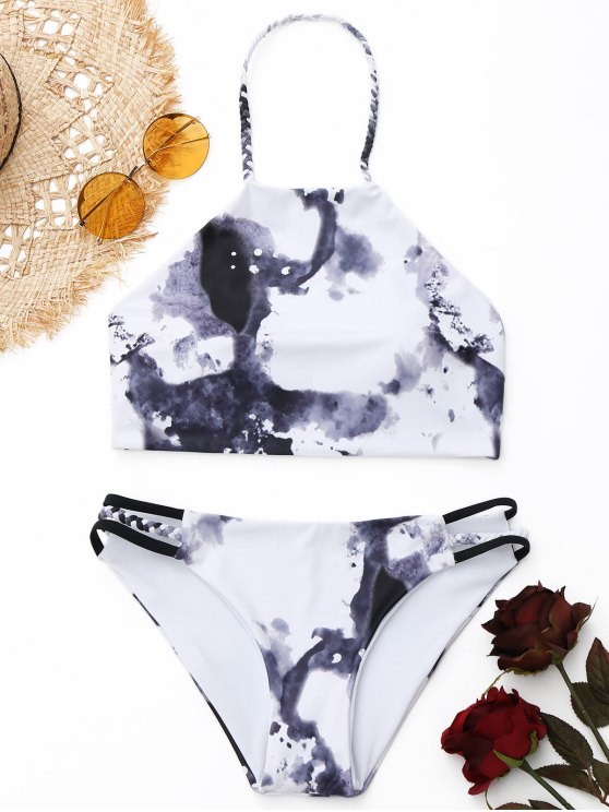 affordable Braided Tie Dye High Neck Bikini Set - WHITE S