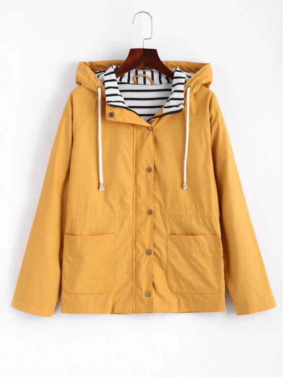 chic Stripes Panel Snap Button Hooded Jacket - MUSTARD L