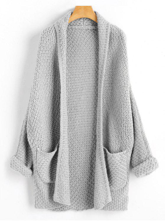 hot Curled Sleeve Batwing Open Front Cardigan - GRAY ONE SIZE