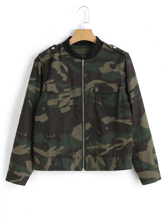 women's Buttoned Tabs Zip Up Camouflage Jacket - ARMY GREEN S