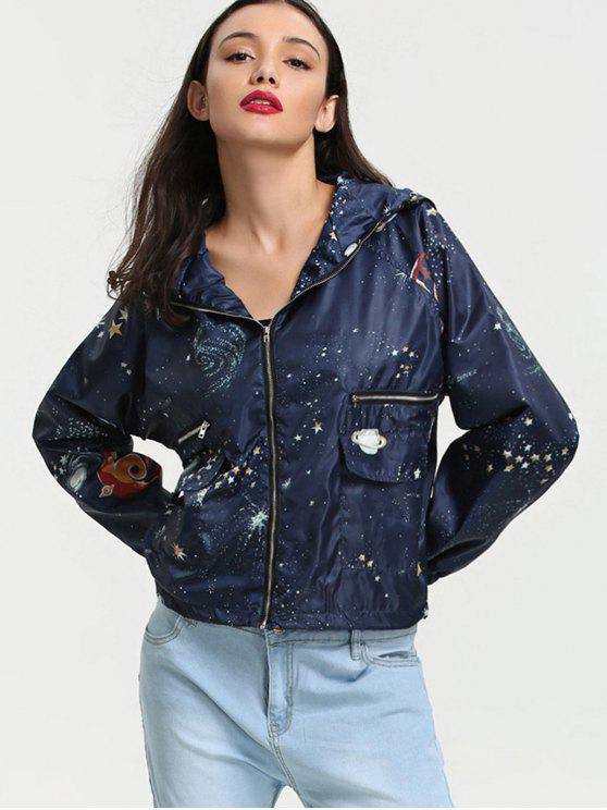 trendy Galaxy Print Hooded Windbreaker Jacket - CADETBLUE S