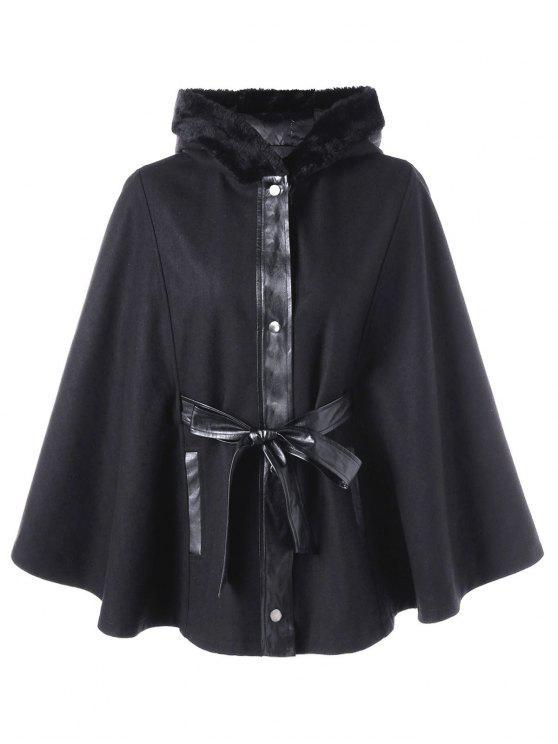Manteau Trapèze à Capuche avec Fausse Fourrure Grande Taille BLACK