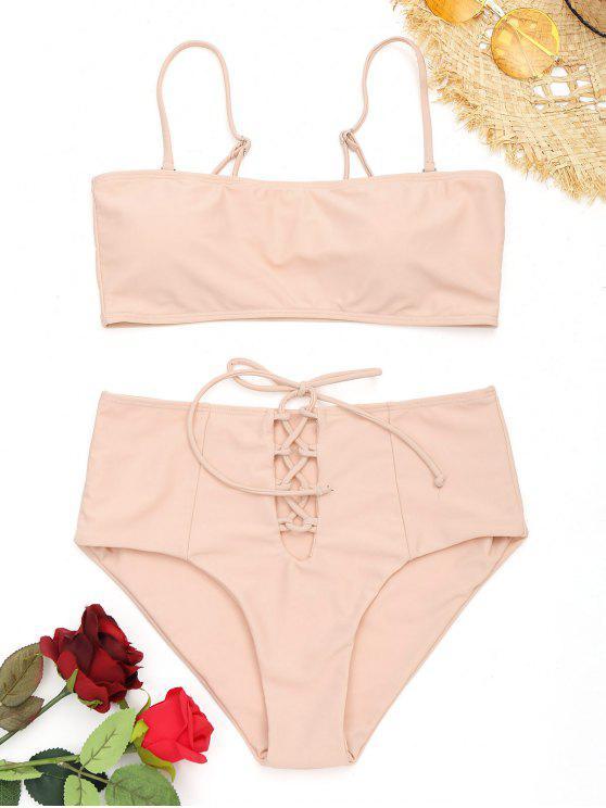 Bikini à Taille Haute à Lacets - Rose Abricot S